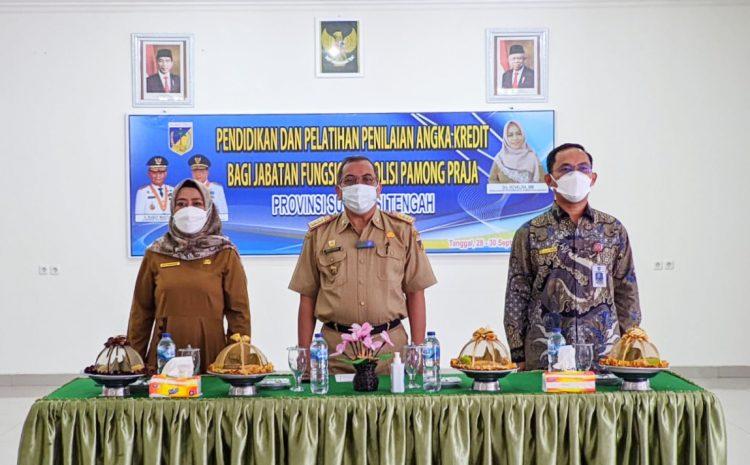 Pj. Sekda Provinsi Sulteng Buka Secara Resmi Pendidikan dan Pelatihan Penilaian Angka Kredit Bagi Jabatan Fungsional Sat Pol PP Provinsi Sulawesi Tengah Tahun 2021.